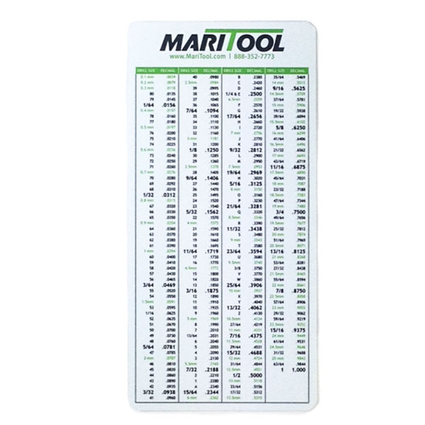 Tap Drill Chart Drill Tap Chart One Dozen Click To Enlarge Maritool